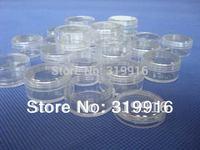 Big discount ,200pcs 3g transparent  small round bottle jars pot,clear plastic container for nail art storage,wholesales
