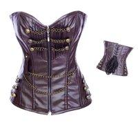 New luxurious Beautiful Women shaper Corset Sexy Lingerie 12 pieces steel bone leather zip weight 0.7kg Retail brown  zg014