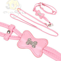 wholesale-Quality dog pet the chest suspenders pet leash pink traction rope dog rope PU material small dogs free shipping
