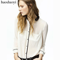 Women's contrast color blouses t-shirt with detachable neck for freeshipping