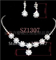 wedding jewelry set bridal crystal necklace and earrings-gold,red,white