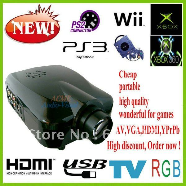 Free shipping home cinema projector HDMI TV Turner video entertainment 3D support with R&B glasses(China (Mainland))