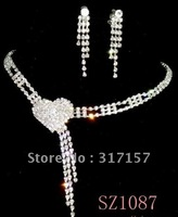 wedding jewelry set bridal crystal necklace and earrings-red and white