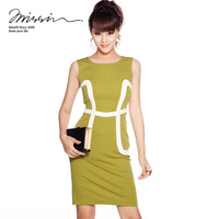 Free shipping! autumn women&#39;s patchwork sleeveless formal OL high waist slim formal dress m0845-2