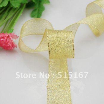 "wholesale 1000yards 1 inch(2.5cm)1""width silvery/golden diy 2012 christmas bulk spool ribbon roll  free shipping"