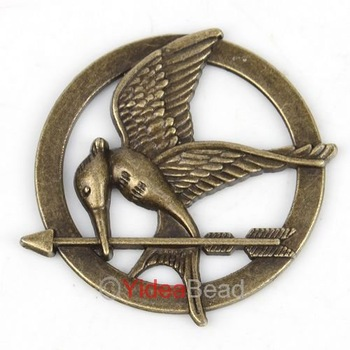 Free Shipping 18pcs Fashion Antique Bronze The Hunger Game Logo  No Loop Pendant 141477
