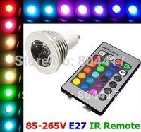 Free Shipping High Quality New Magic RGB LED Light Bulb Lamp AC 85~265V 3W E27 16 Colors 5 Modes + IR Remote
