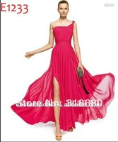 Fashion Hot Pink A-line One shoulder Ruched Bodice Flowing Chiffon High Slit Evening Gown