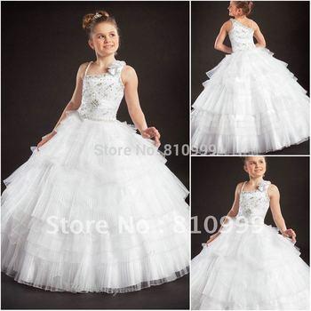 Jf0076 arrivée de nouveaux blanc princesse Halter mariage de cendrillon robes pour filles
