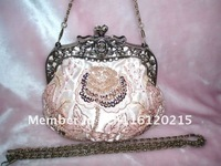New ~ PINK VINTAGE-LOOK Beaded Embroidery handbag Evening bag free shipping