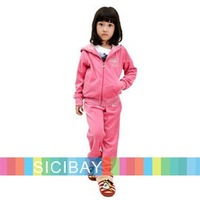 New Arrival Velvet Girls Clothing Set Autumn/Winter Warm Hooded Coat+Trousers  K0176