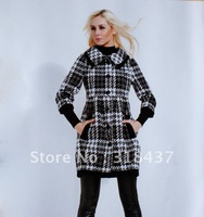 High   Quality  Women's Fashion Slim Plaid Woolen Trenchcoat ,Factory Outlets, 2012