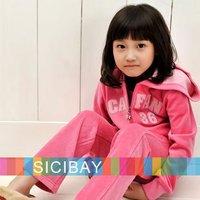 Free Shipping Fashion Girls Velvet Winter Set Children Zip Design Hoodies+Warm Pants Kids Casual Wear  K0177