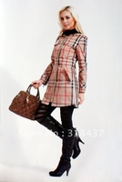 High   Quality  Women's Fashion Slim Plaid  Hooded Trenchcoat ,Factory Outlets, 2012