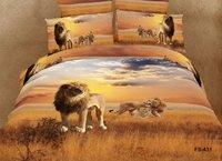 New Fashion hot Beautiful 100% Cotton 4pc Doona Duvet QUILT Cover Set bedding set Full / Queen/  King size 4pcs golden lion