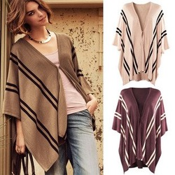 Free shipping fashion women Knit Sweater Shawl Cloak Poncho Vest lady cape cashmere blends girl leisure jacket wool coat(China (Mainland))