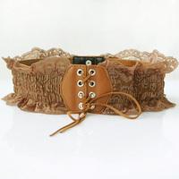 Free Shipping 2pcs/lot Female wide belt lace bow elastic waist belt ultra wide cummerbund decoration vintage yd1117