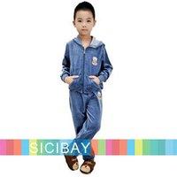 Free Shipping Sale Boys Winter Clothing Velvet Suit Cartoon Hooded Coat+Trousers  K0179