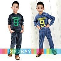 Retail Cheap Hi-Q Velvet Clothing Set for Boys Winter Warm Wear Letter design Hooded suit kids pajama sets Free Shipping  K0180