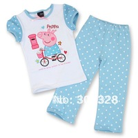 New 2014 Next Peppa Pig Clothes Set Pajama set Baby Kids Girls Autumn Clothing Sets short Sleeves shirt pants Free Shipping
