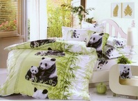 New hot Beautiful 100% Cotton 4pc Doona Duvet QUILT Cover Set bedding set Full / Queen/  King size 4pcs Happy panda
