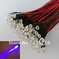 100x Pre wired 5mm Bright  UV/Purple LEDs Bulb 20cm Prewired 12V LED Lamp 100pcs/lot