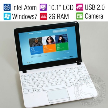 10.1 Inch Student Computer Mini Netbook Laptop for Child/Intel 1.6GHz Dual Core/6-cell Battery/Win7/2GB RAM/250G HDD/Wifi/Camera