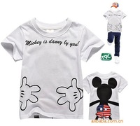 Free shipping,Wholesale Summer boys Mickey hugs tops white t-shirt children's tees clothes children cartoon clothing(6pcs/lot)
