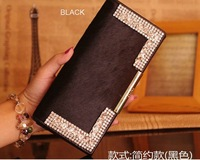 Free shipping,CA305 New arrival designer crystal leather+horse hair wallet,hotsale fashion crystal cow leather purse