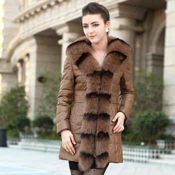 free shipping 2012 fox fur skin genuine leather clothing female medium-long