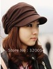1 pcs,New Korean autumn and winter cotton knitted hats, fashionable men and women fold fashion caps, multi-color, free shipping