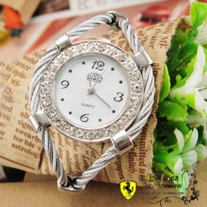 Steel wire fashion ladies watch trend bracelet diamond watch ring elastic band vampish female(China (Mainland))