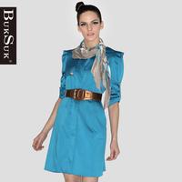 Free shipping Buksuk2012 autumn slim o-neck long design raglan sleeve half sleeve trench 9728