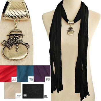 6pcs/lot, 2014 fashion magic jewelled christas snowman pendant  scarf,fall scarves,mixed colors, original factory supply