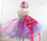 Birthday tutu skirt Baby Tutu dress girls Tutu Customed Tutu set matching Mini Top Hat hair bows hair clips 374