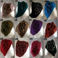 DHL Free Shipping 2012 Newest hot sale Handmade knit headdress Flower headwrap FLOWER EAR WARMER HEAD BAND NECK WRAP SEQUINS
