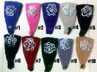 Free shipping+ flower Handmade Knit crochet fashion rhinestone Headband headwear50s mix colors