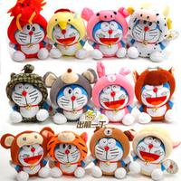 DORAEMON zodiac DORAEMON doll cat plush toy car suction cup full set 12