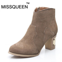 Missqueen fashion genuine leather boots thick high-heeled female ankle-length boots