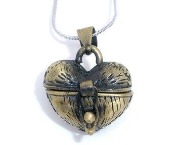 10 Bronze Color Heart Wish Boxes Charm Pendants 23x18mm