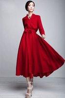 D127 2012 new high quality women's new Long sleeve mandarin collar linen  dress