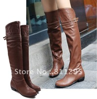 HOT Selling 2012 fashion over-the-knee long and comfortable low-heeled martin boots ol soft leather shoes  free shiping
