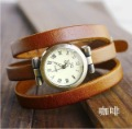 Christmas Gift  vintage Genuine Coffee Cow leather fashion Wrap Women watch ladies wrist watch KOW025 Min order=15usd
