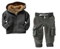 new thickening cotton cashmere children's suite dark gray 2T--6T