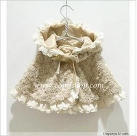 Autumn and winter sweet female child mantissas baby cloak child rose cloak with a hood cloak female child cape cloak