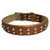 Wholesale - Golden Collar Pet Collar Dog Collar-row nails leather dog chain free shipping 1pcs/lot