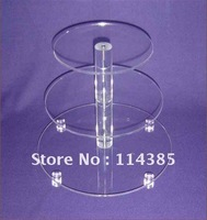 3 Tier 5mm Thick Round Maypole Clear Acrylic Wedding Party Fairy Cupcake Display Stand