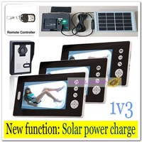 1v3 Newest Solar power charger Wireless 7inch door bell /video door phones/ intercom systems with remote control free shipping