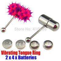 2Pcs Vibrating Tongue Bar/Ring + 8 Free Batteries for Body Piercing BJA-005+003
