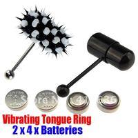 2Pcs Vibrating Tongue Bar/Ring + 8 Free Batteries for Body Piercing BJA-008+002